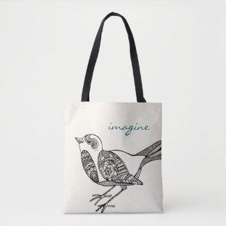 Bird Tote in Black and Teal