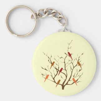 Bird Tree Basic Round Button Key Ring
