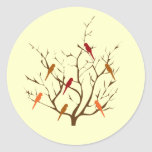Bird Tree Classic Round Sticker