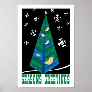 Bird Tree Season s Greetings Poster
