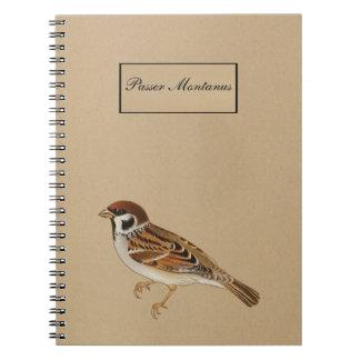 Bird - Tree sparrow - Passer Montanus Note Books