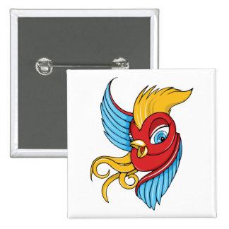 Bird ~ Vintage Forties Tattoo Bird Art 15 Cm Square Badge