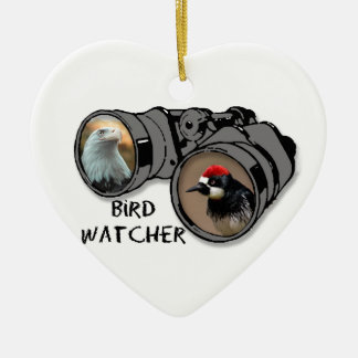 Bird Watcher Design w/Eagle & Woodpecker Ceramic Heart Decoration