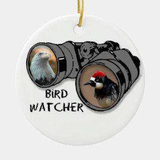 Bird Watcher Design w/Eagle & Woodpecker Round Ceramic Decoration
