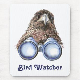 Bird Watcher Watching You Animal Humor watercolor Mouse Mat