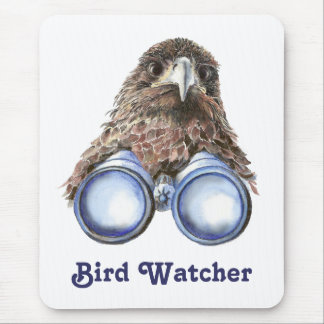Bird Watcher Watching You Animal Humor watercolor Mousepads