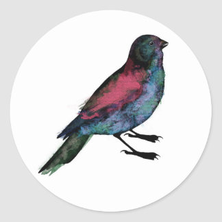 Bird Watercolour Classic Round Sticker