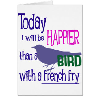 Bird with a french fry greeting card