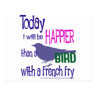 Bird with a french fry postcard