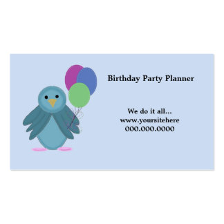 Bird with Balloons - Birthday Party Planner Pack Of Standard Business Cards