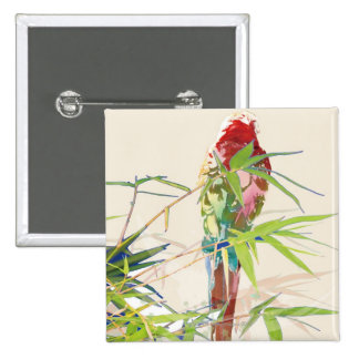 Bird with Bamboo Leaves 15 Cm Square Badge