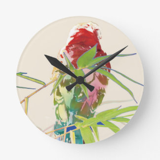 Bird with Bamboo Leaves Round Clock