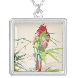 Bird with Bamboo Leaves Silver Plated Necklace