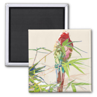 Bird with Bamboo Leaves Square Magnet