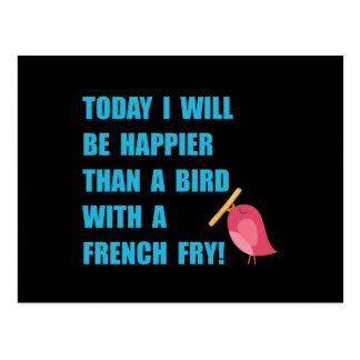 Bird With French Fry Postcard