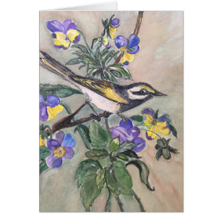 Bird with pansies notecard