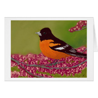 Bird with Pink Flowers Card