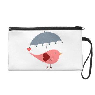 Bird with Umbrella Wristlet Purse