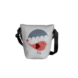 Bird with Umbrella Courier Bag