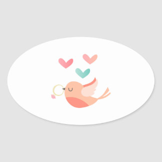 Bird With Wedding Ring Oval Sticker