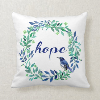 Bird, Wreath And Inspirational Hope Saying Cushion