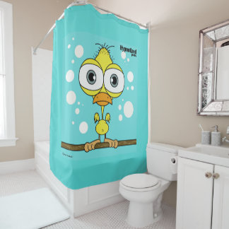 Bird (Yellow, Light Blue Bg) Shower Curtain