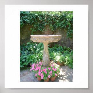 Birdbath at Filoli garden Poster