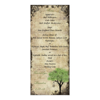 Birdcage and Tree Green Wedding Menu Card 10 Cm X 24 Cm Invitation Card