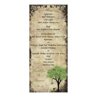 Birdcage and Tree Green Wedding Menu Card
