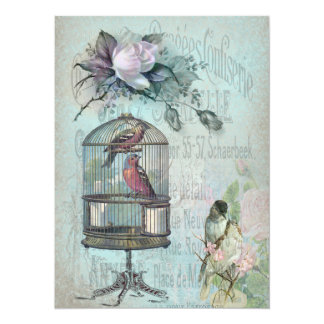 Birdcage Blossom 14 Cm X 19 Cm Invitation Card