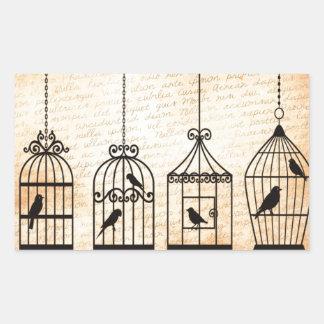 Birdcage Silhouettes Rectangular Sticker