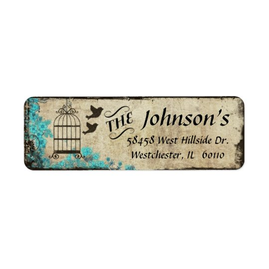 Birdcage Vintage Return Address Label Blue