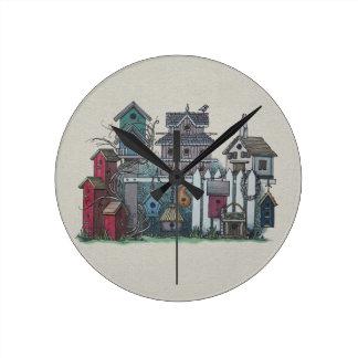 Birdhouse Collection Round Clock