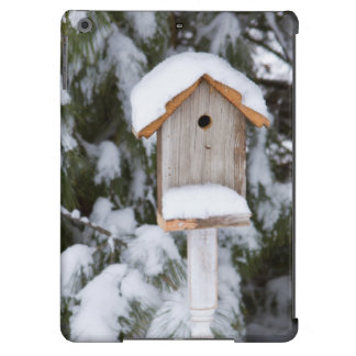 Birdhouse near pine tree in winter iPad air cover