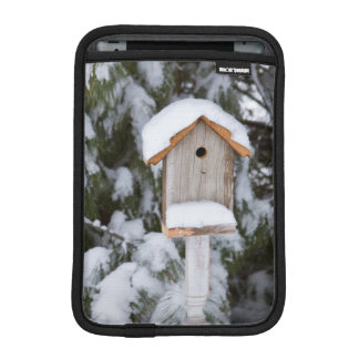 Birdhouse near pine tree in winter iPad mini sleeve