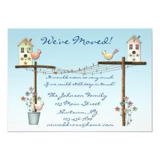 "Birdhouse New Address Announcement 5"" X 7"" Invitation Card"