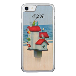 Birdhouse with Parrots and Parakeets, Monogram Carved iPhone 8/7 Case