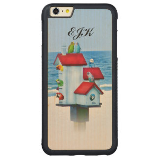 Birdhouse with Parrots and Parakeets, Monogram Carved Maple iPhone 6 Plus Bumper Case
