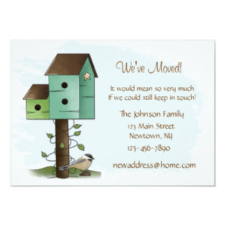 "Birdhouses New Address Announcement 5"" X 7"" Invitation Card"