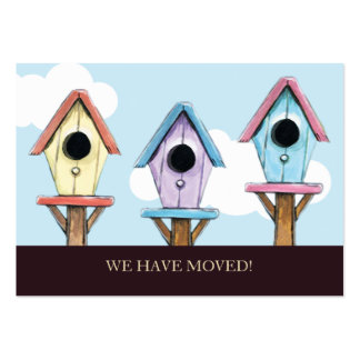 Birdhouses | We Have Moved Mini Announcement Pack Of Chubby Business Cards