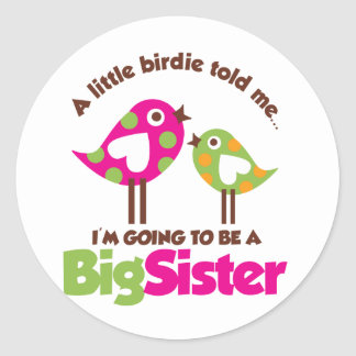 Birdie Going To Be A Big Sister Classic Round Sticker