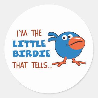 BIRDIE THAT TELLS ROUND STICKER