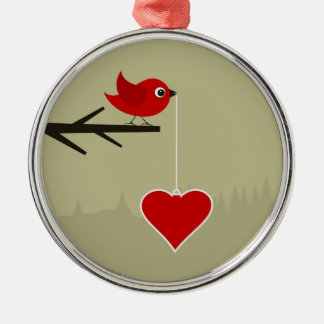 Birdie with heart Silver-Colored round decoration