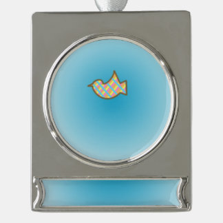 BirdieOnBlue Silver Plated Banner Ornament