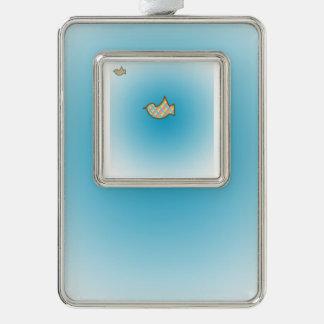 BirdieOnBlue Silver Plated Framed Ornament