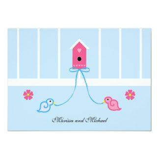 Birdies Couple Wedding Shower Invitation on Blue