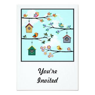 Birdies & Houses 5x7 Paper Invitation Card