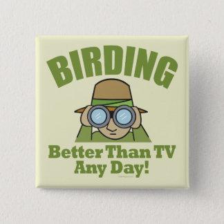 Birding 15 Cm Square Badge