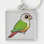 Birdorable Cinnamon Green-cheeked Conure Silver-Colored Square Key Ring