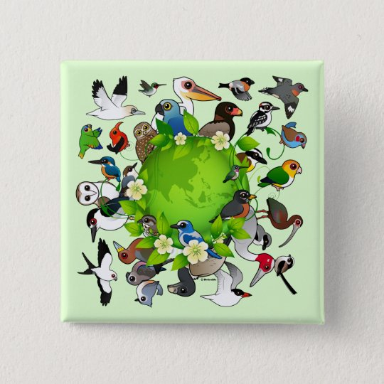 Birdorable Earth Day 15 Cm Square Badge
